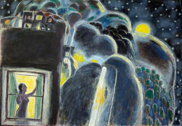 Ernest Zobole, Landscape at Night with Woman at Window, 1980s