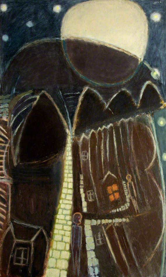 Ernest Zobole, Rhondda Street with Moon and Stars