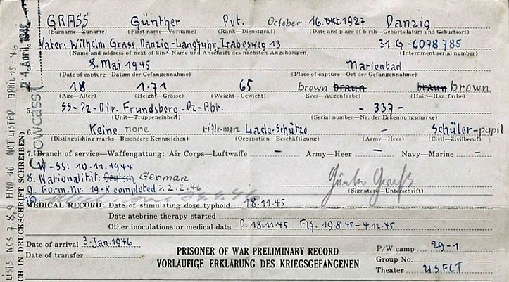 Gunter Grass's American prisoner of war document records him has as a member of the Waffen SS