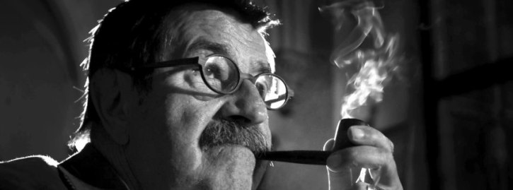 German novelist and winner of the Nobel Prize in Literature Guenter Grass smokes his pipe during a meeting in Gdansk