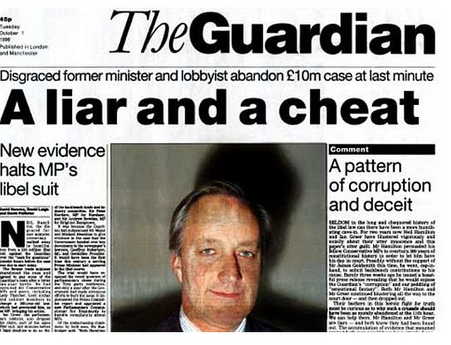 First libel battle 1996 - former Tory minister Neil Hamilton and lobbyist Ian Greer abandon £10m libel suit