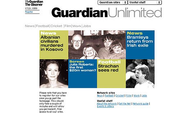 he Guardian Unlimited website soon after it launched in January 1999