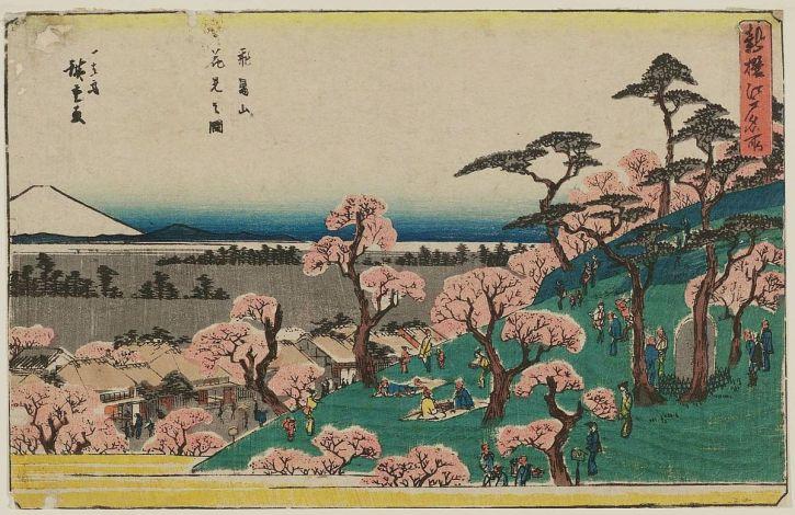 Utagawa Hiroshige, Cherry-blossom Viewing at Asuka Hill, 1840