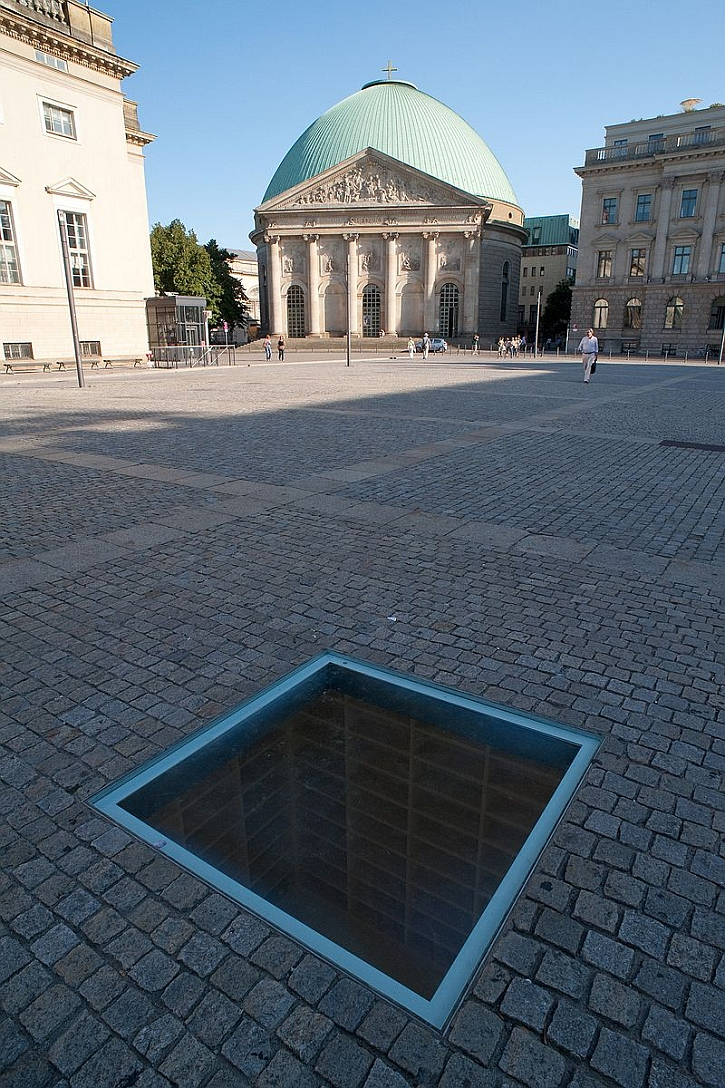 Book burning memorial at the Bebelplatz in Berlin (photo by Micha Ullman)