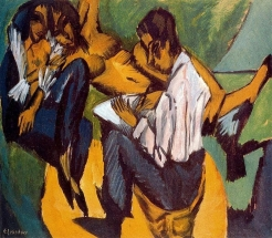 Ernst Ludwig Kirchner, Artist Sketching with Two Women, 1913