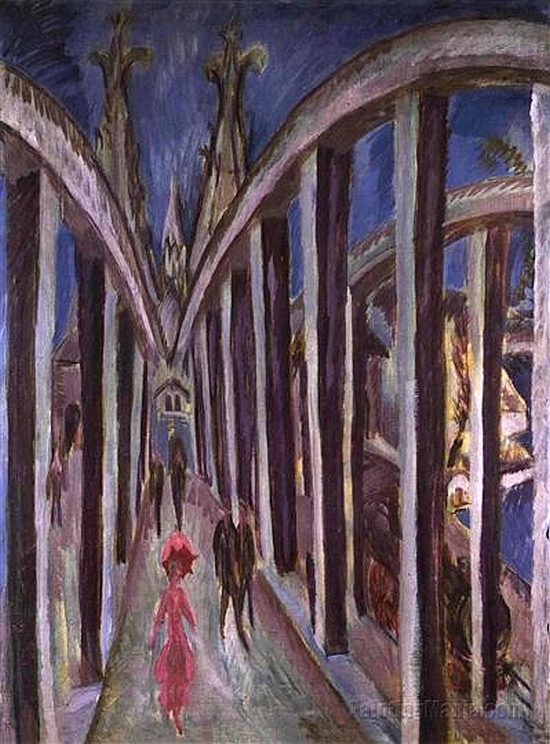 Ernst Ludwig Kirchner, Bridge over the Rhine in Cologne, 1914