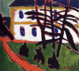 Karl Schmidt-Rottluff, Fir Trees in Front of a White House, 1911