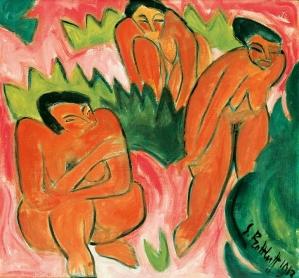 Karl Schmidt-Rottluff, Three Nudes (Dune Picture from Nidden), 1913