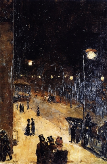 Lesser Ury, Berlin Street at Night, 1889