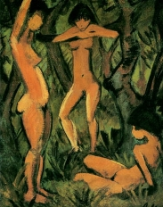 Otto Mueller, Three Nudes in the Forest, 1911