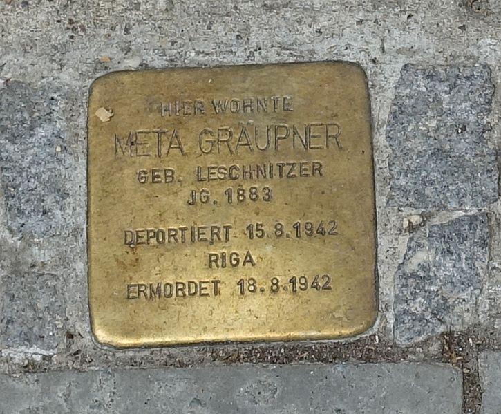 Stolperstein for Meta Graupner at 42 Fasenstrasse