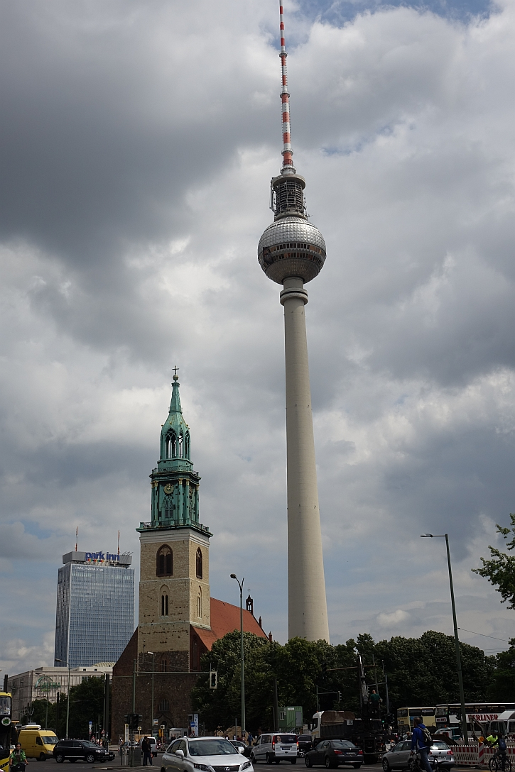 The Marienkirche and the Alexanderplatz TV tower