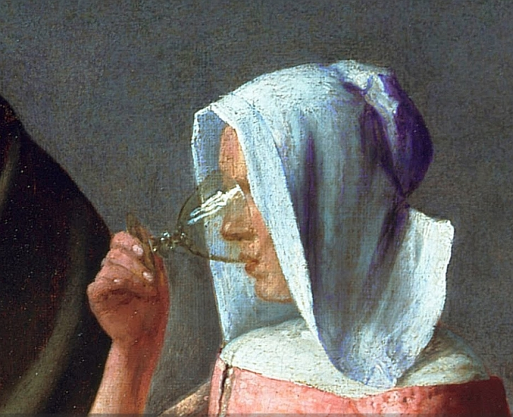 Vermeer, The Wine Glass (detail)