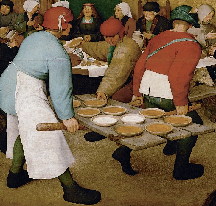 The Peasant Wedding, detail: carrying in the plates