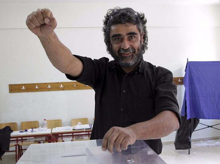Casting his vote in Crete