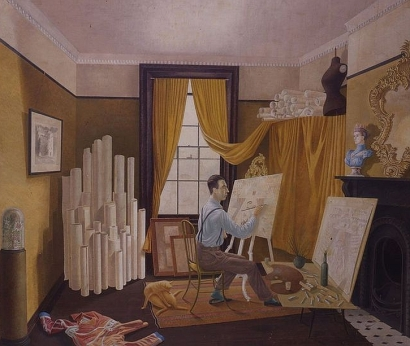 Edward Bawden Working in his Studio, 1930
