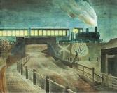 Train Going Over Bridge at Night, c1935