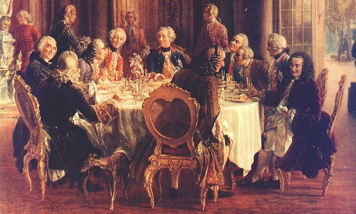 Frederick the Great at his palace of Sansouci, sitting alongside Voltaire, Adolph Menzel , 1750