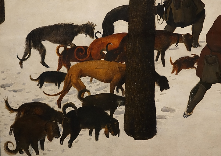 Hunters in the Snow, detail: exhausted dogs