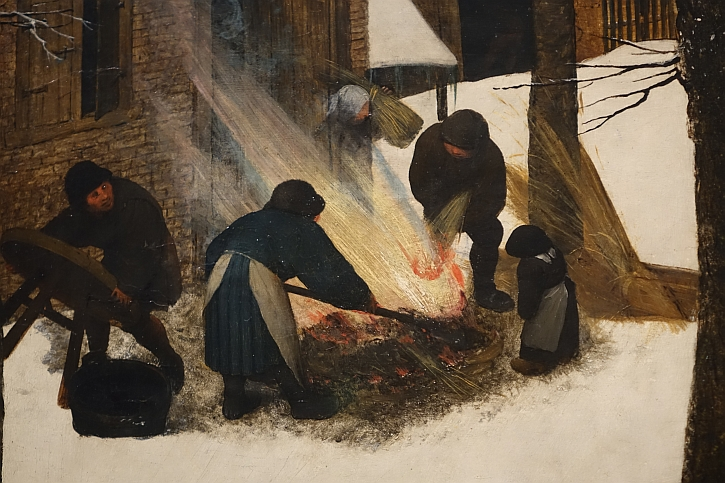 Hunters in the Snow, detail : preparing to roast a pig