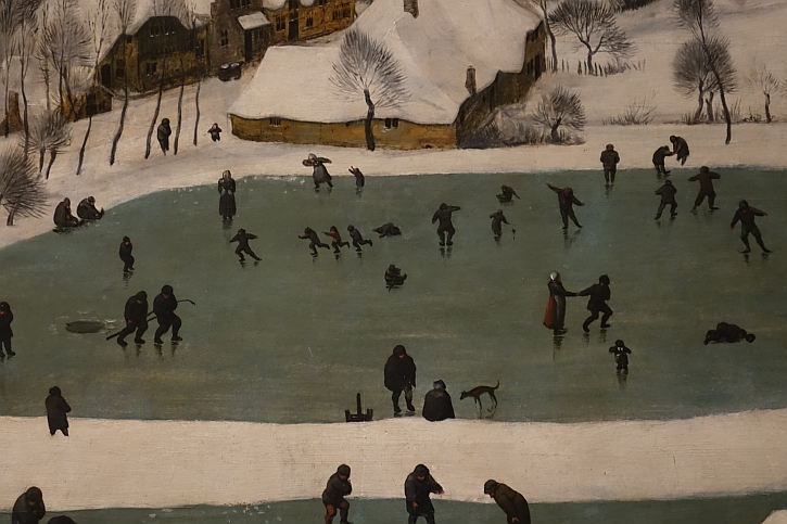 Hunters in the Snow, detail: skaters on the pond