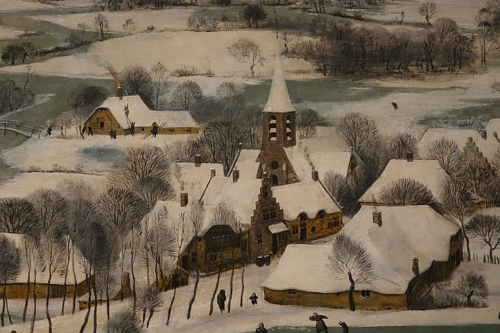 Hunters in the Snow, detail: crossing the frozen river
