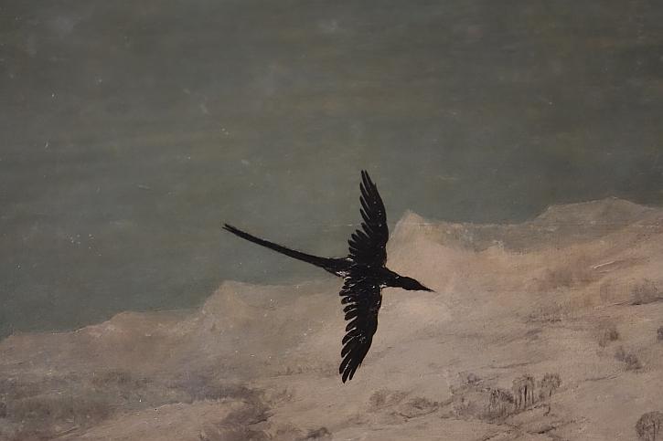 Hunters in the Snow, detail : bird in flight