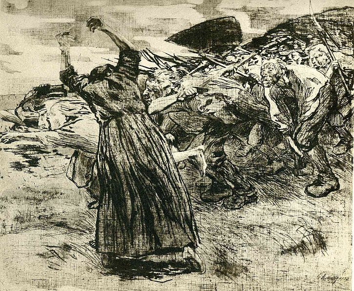Käthe Kollwitz, The Peasants' War, 'Outbreak', 1908