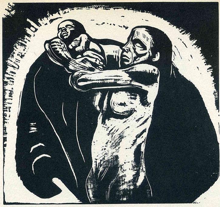 Käthe Kollwitz, The Sacrifice, plate 1 from War (Krieg), 1923
