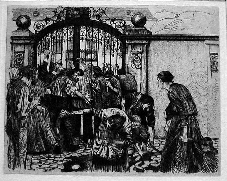 Käthe Kollwitz, The Weavers' Revolt, Riot, 1894