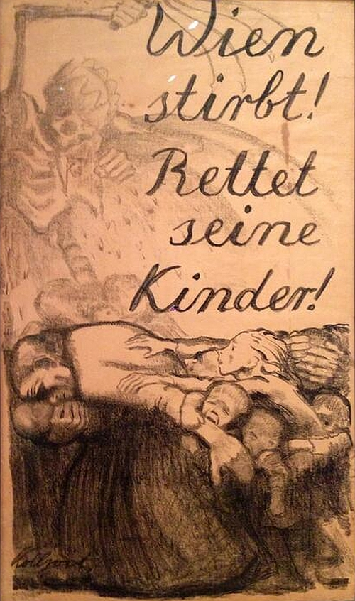 Käthe Kollwitz, Vienna Is Dying! Save Her Children! 1924