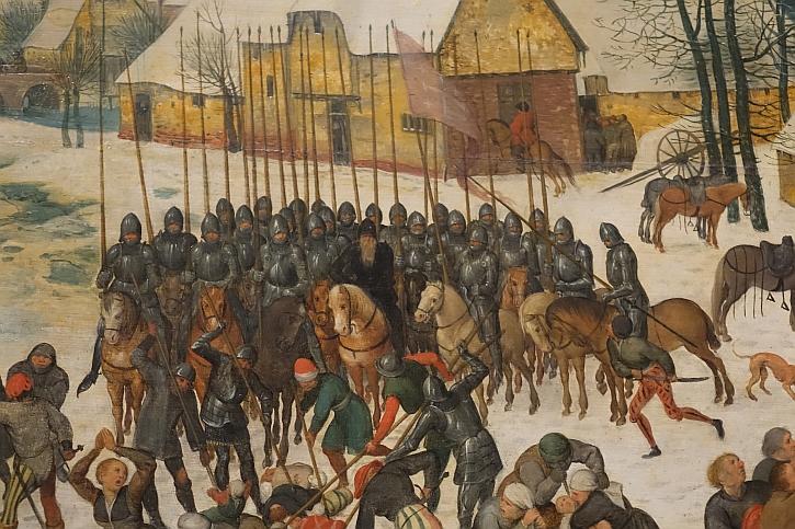 Massacre of the Innocents, detail: heavily-armed cavalrymen