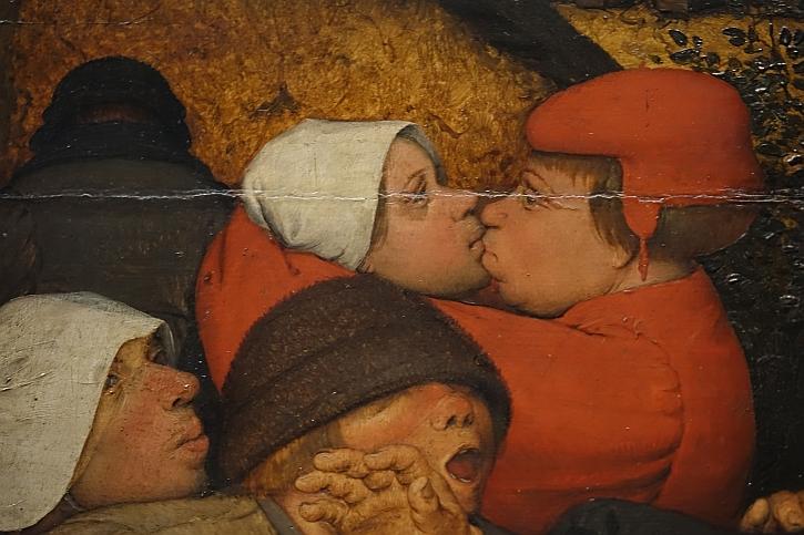 The Peasant Dance, detail: a couple kiss