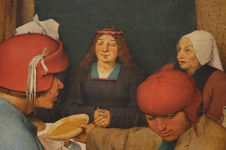The Peasant Wedding, detail: the bride