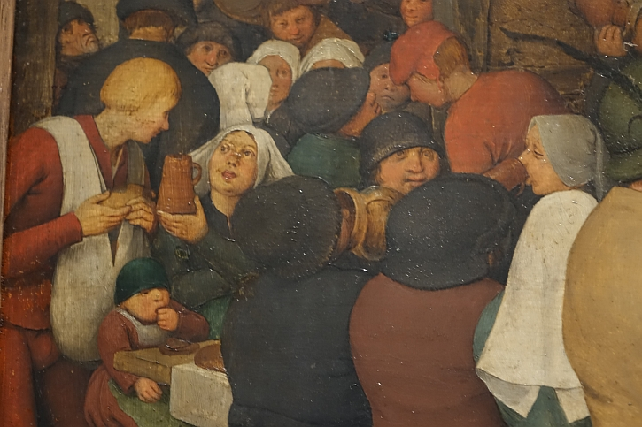 The Peasant Wedding, detail: jugs to their lips