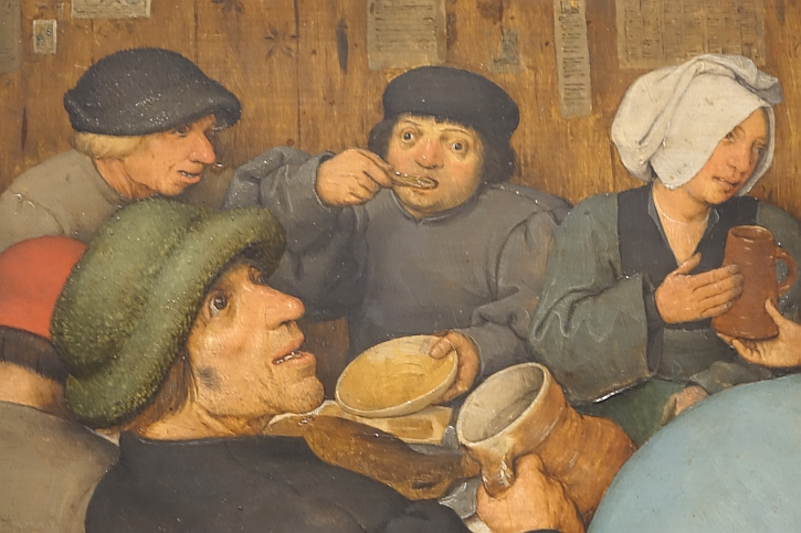 The Peasant Wedding, detail: eating and drinking