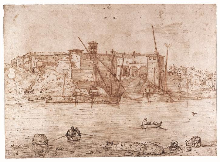 Pieter Bruegel the Elder, The Ripa Grande in Rome, c1552-54