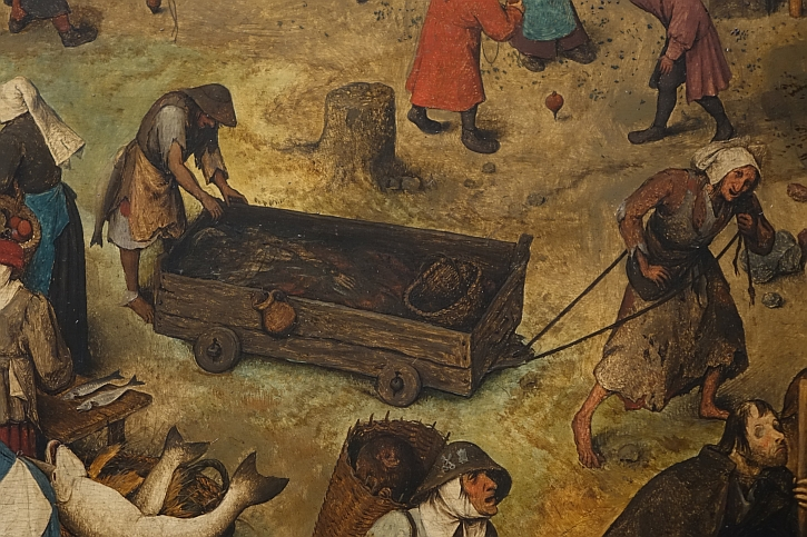 The Fight Between Carnival and Lent, detail: the woman and the corpse