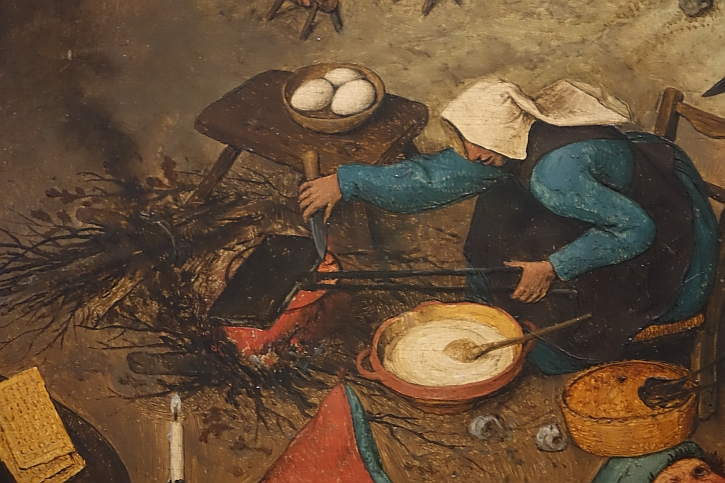 The Fight Between Carnival and Lent, detail: a woman grills waffles