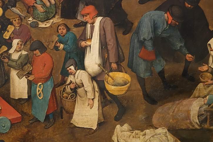 The Fight Between Carnival and Lent, detail: signs of piety