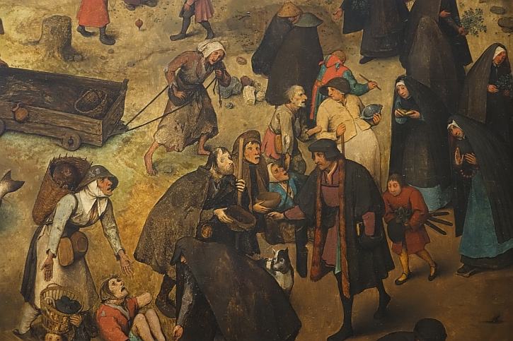 The Fight Between Carnival and Lent, detail: alms to the sick and needy
