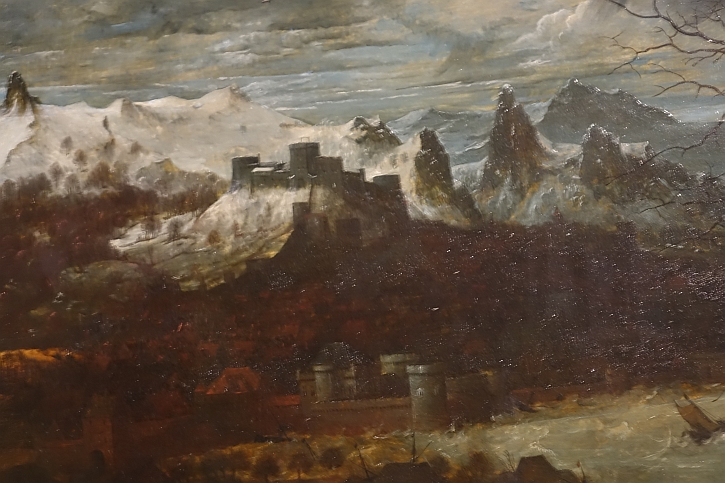 The Gloomy Day, detail: distant snow-covered mountain peaks