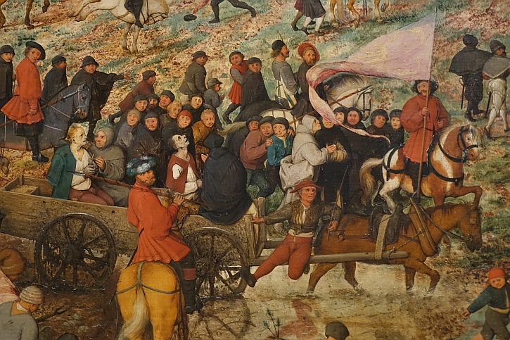 The Procession to Calvary, detail : the cart with two thieves