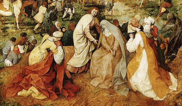The Procession to Calvary, detail: the three Marys