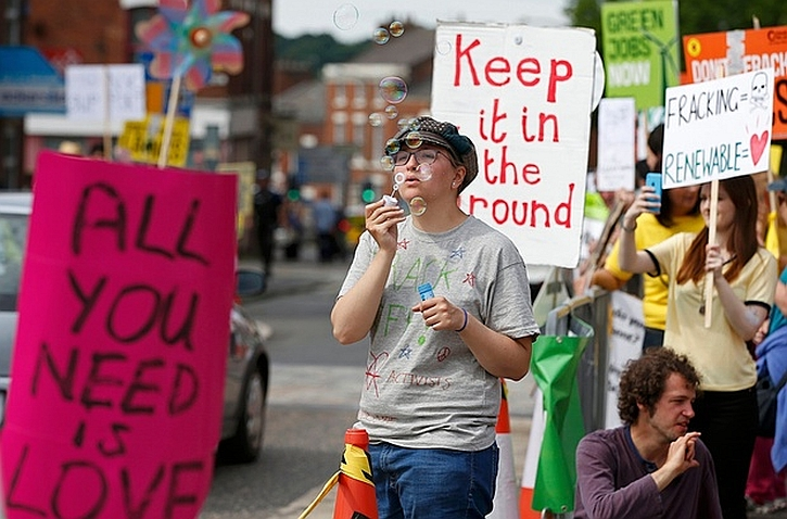 An anti-fracking protest outside County Hall in Preston this summer