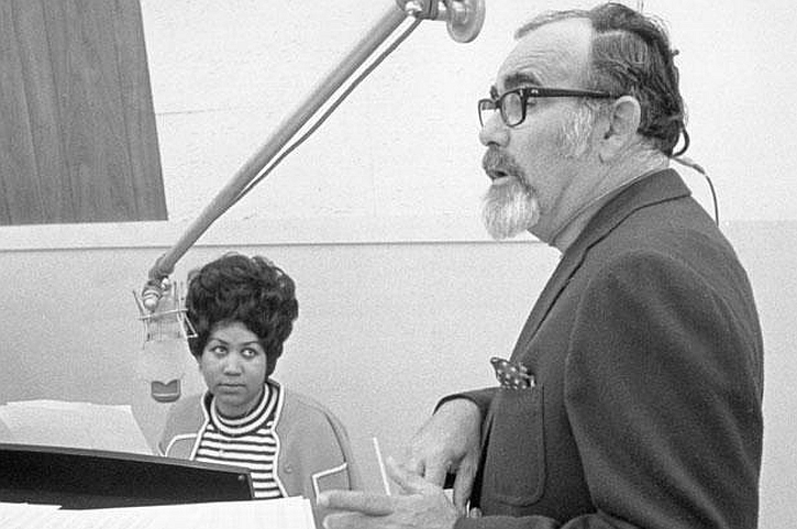 Aretha Franklin and producer Jerry Wexler in Muscle Shoals Studios January 1969