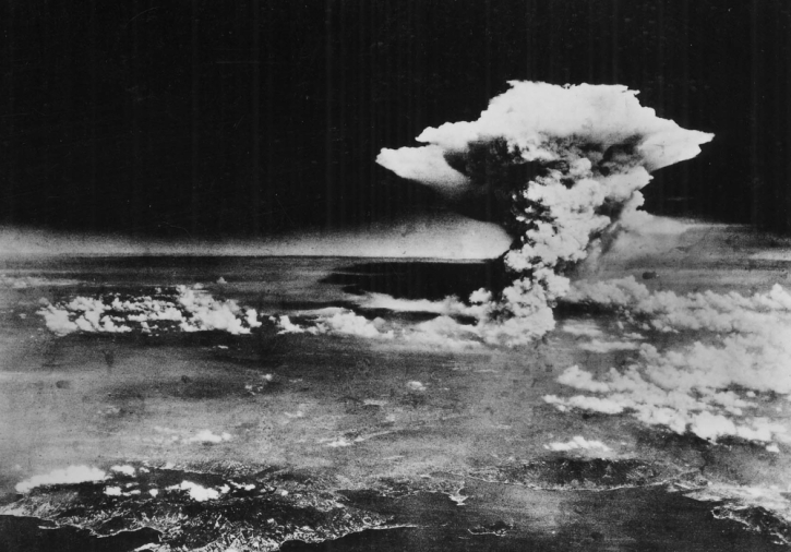 The mushroom cloud over Hiroshima on