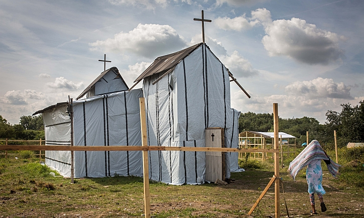 The makeshift Ethiopian Orthodox church in the refugee camp at Calais.
