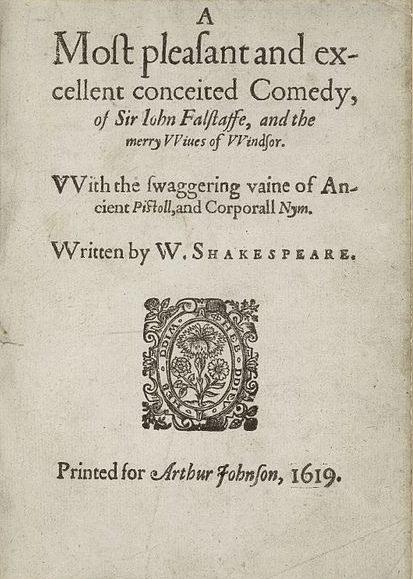 The title page of A most pleasant and excellent conceited comedy, of Sir John Falstaffe, and the merry wiues of Windsor.