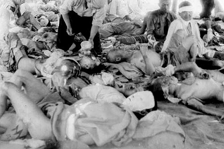 Victims of the bomb are sheltered at a temporary hospital in Hiroshima